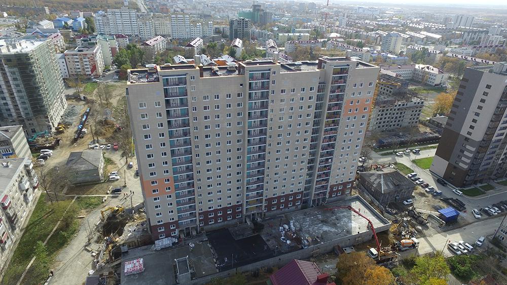 16-ти этажный жилой дом в 8 микрорайоне (г. Южно-Сахалинск, ул. Поповича,18)